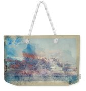 Watercolor Painting Of Stunning Sunset Cloud Formation Over Calm Sea Landscape Weekender Tote Bag