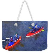 Watercolor Painting Of Two Canoes Weekender Tote Bag