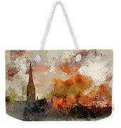 Watercolor Painting Of Winter Frosty Sunrise Landscape Salisbury Weekender Tote Bag