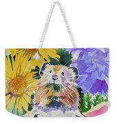 Watercolor - Pika With Wildflowers Weekender Tote Bag by Cascade Colors