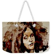 Watercolor Portrait Of A Woman With Bad Hair Day Weekender Tote Bag