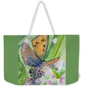 Watercolor - Small Butterfly On A Flower Weekender Tote Bag