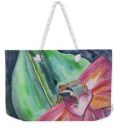 Watercolor - Small Tree Frog On A Colorful Flower Weekender Tote Bag