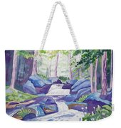 Watercolor - Summer Mountain Forest And Stream Weekender Tote Bag