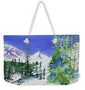 Watercolor - Sunny Winter Day In The Mountains Weekender Tote Bag by Cascade Colors