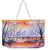 Watercolor - Sunrise At The Pond Weekender Tote Bag