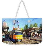 Watercolour Painting Of A Tram In Germany Weekender Tote Bag