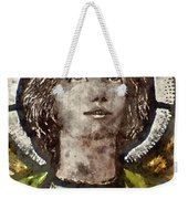 Watercolour Painting Of Stained Glass Religious Window In Church Weekender Tote Bag