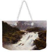 Waterfall In Norweigian Mountain Landscape Weekender Tote Bag