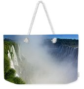 Waterfalls On Both Sides Of The River  At Devil's Throat In Iguazu Falls National Park-argentina   Weekender Tote Bag