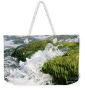 Wave Splash On The Green Rock Weekender Tote Bag