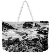 Waves Against A Rocky Shore In Bw Weekender Tote Bag by Doug Camara