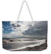 Waves Breaking Against The Beach And Cloud Streaming Above  Skegness Lincolnshire England Weekender Tote Bag