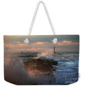 Waves Crashing Over The Jetty Weekender Tote Bag