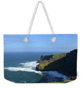 Waves From Galway Bay Crashing Against The Cliff's Of Moher Weekender Tote Bag