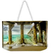 Waves Smash Into The Pier Weekender Tote Bag