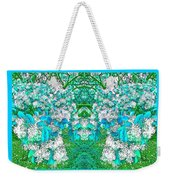 Waxleaf Privet Blooms In Aqua Hue Abstract With Aqua Frame Weekender Tote Bag