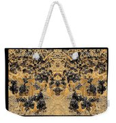 Waxleaf Privet Blooms In Black And White - Color Invert With Golden Tones Abstract Weekender Tote Bag