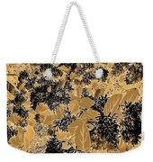 Waxleaf Privet Blooms On A Sunny Day In Black And White - Color Invert With Golden Tones Weekender Tote Bag