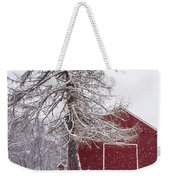 Wayside Inn Red Barn Covered In Snow Storm Reflection Weekender Tote Bag