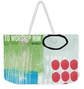 We Come To Worship- Contemporary Christmas Card By Linda Woods Weekender Tote Bag