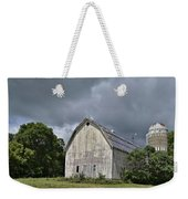 Weathered Barn And Silo Under A Cloudy Sky Weekender Tote Bag