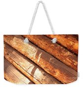 Weathered Wood Log Cabin Weekender Tote Bag