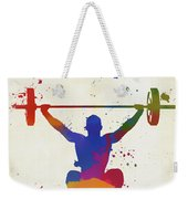 Weightlifter Paint Splatter Weekender Tote Bag