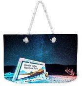 Welcome Sign To Death Valley National Park California At Night Weekender Tote Bag