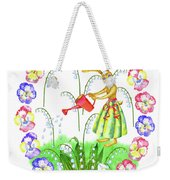 Welcome Spring. Rabbit And Flowers Weekender Tote Bag