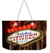 R.i.p. Welcome To Downtown Las Vegas Sign At Night Weekender Tote Bag