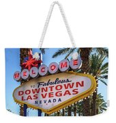 R.i.p. Welcome To Downtown Las Vegas Sign Day Weekender Tote Bag
