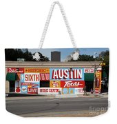 Welcome To Historic Sixth Street Is A Famous Mural Located At 6th Street And I-35 Frontage Road, Austin, Texas - Stock Image Weekender Tote Bag