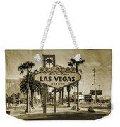 Welcome To Las Vegas Series Sepia Grunge Weekender Tote Bag