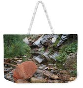 West Fork Trail River And Rock Horizontal Weekender Tote Bag
