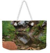 West Fork Trail River And Rock Vertical Weekender Tote Bag by Heather Kirk