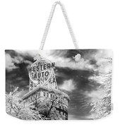 Western Auto In Winter Weekender Tote Bag