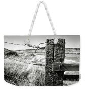 Western Barbed Wire Fence Black And White Weekender Tote Bag
