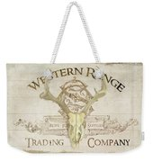 Western Range 3 Old West Deer Skull Wooden Sign Trading Company Weekender Tote Bag