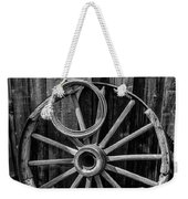 Western Rope And Wooden Wheel In Black And White Weekender Tote Bag