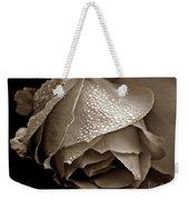 Wet Rose In Sepia Weekender Tote Bag