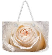 Wet White Rose Weekender Tote Bag