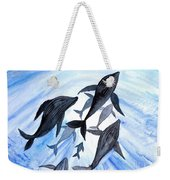 Whale Family On Sun Ray Weekender Tote Bag