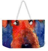 Whimsical Airedale Dog Painting Weekender Tote Bag