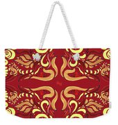 Whimsical Organic Pattern In Yellow And Red I Weekender Tote Bag