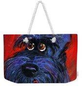 whimsical Schnauzer dog painting Weekender Tote Bag