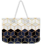 White And Navy Cubes Weekender Tote Bag
