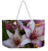White And Pink Lilies Weekender Tote Bag