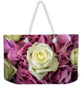White And Pink Roses Weekender Tote Bag