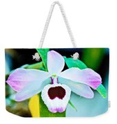 White And Purple Orchid In Greenhouse At Pilgrim Place In Claremont-california Weekender Tote Bag